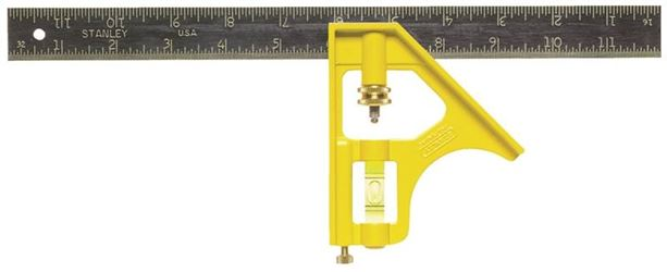 Stanley 46-123 Combination Square, 12 in L, Hard-Chrome-Plated Blade/Die-Cast Handle