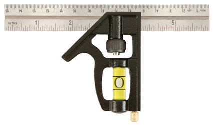 Johnson 406EM Professional Combination Square, 6 in L, 1/8 in, 1/16 in, 1/32 in, Steel Blade