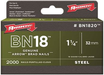 Arrow BN1820CS Brad Nail, 1-1/4 in, Steel, Natural