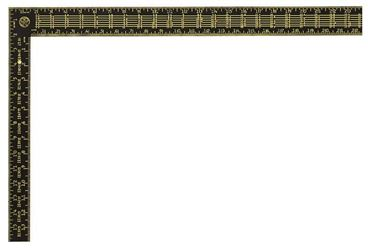 Stanley 45-011 English Rafter Square, 24 x 2 in, Face: 1/16, 1/8 in, Back: 1/16, 1/10, 1/12 in, 16 x 1-1/2 in Tongue