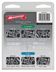 Arrow RK6120 Rivet Assortment Pack, 120 Pieces, 1/4 in W Rivet, 3/8 in L Grip
