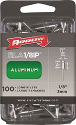 Arrow RLA1/8IP Long Pop Rivet, 1/8 in Dia X 4 in L, Aluminum