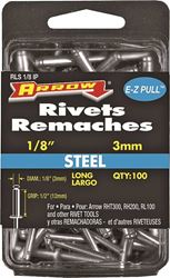 Arrow RLS1/8IP Long Pop Rivet, 1/8 in Dia, Steel