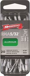 Arrow RMA5/32 Medium Pop Rivet, 5/32 in Dia, Aluminum