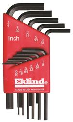 Eklind 10111 L Handle Short Arm Hex Key Set, 11 Pieces