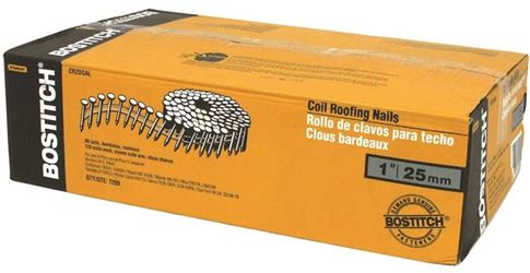 Stanley CR2DGAL Coil Collated Roofing Nail, 0.092 in x 1 in, 15 deg, Steel