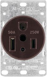 Arrow Hart 1254-BOX Straight Blade Grounded Power Receptacle, 250 VAC, 50 A, 2 Pole, 3 Wire, Brown