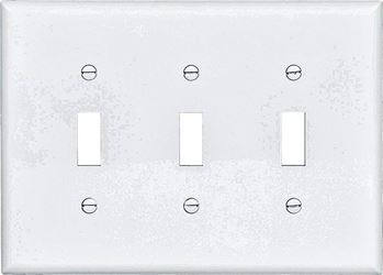 Arrow Hart PJ3 Mid Size Unbreakable Wall Plate, 3 Gang, 4-1/2 in L x 6.37 in W x 0.08 in T, White