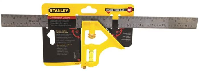 Stanley 46-131 Combination Square, 16 in L, 1 in W, Stainless Steel Blades/Die-Cast Handle