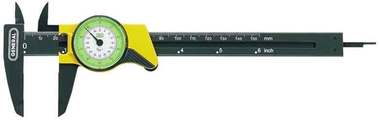 General Tools 142 4-Way Dial Caliper, 0 - 6 in Range, Analog, Plastic, Matte