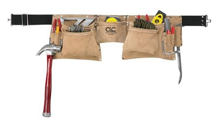 CLC Tool Works I427X Heavy Duty Tool Apron, 2 in W, 12 Pocket, Suede Leather, Brown