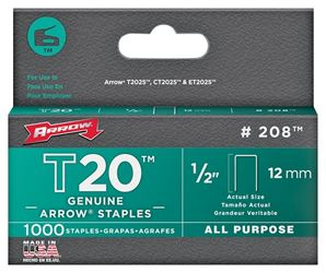 Arrow Fastener 208  Staples, Flat Crown, 1/2 Inch