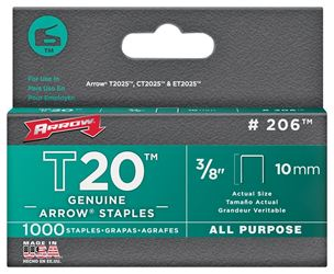 Arrow Fastener 206  Staples, Flat Crown, 3/8 Inch