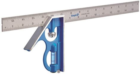 Empire E280 Heavy Duty Professional Combination Square, 16 in L, Stainless Steel Blade