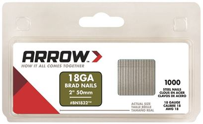Arrow BN1832CS Brad Nail, 2 in, Steel, 18 ga, Round Shank