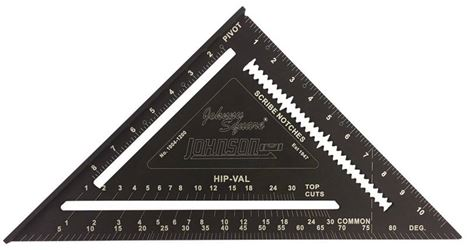 Johnson Level 1904-1200 Johnny Square Rafter Squares, Aluminum, 12 Inch