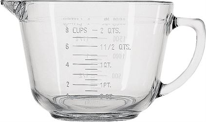 Anchor Hocking 81605l11 Measuring Cups, Batter Bowl, Glass, 2 Qt - 4 Pack