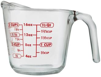 Anchor Hocking 551770l13 Measuring Cup, 2 Cup, Glass, Clear - 4 Pack