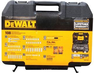 DeWalt DWMT73801 Metric/SAE Socket Wrench Set, 108 Pieces, 1/4 or 3/8 in, 6 Points