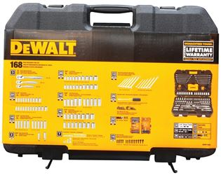 DeWalt DWMT73803 Metric/SAE Socket Wrench Set, 168 Pieces, 1/4 or 3/8 or 1/2 in, 6 Points