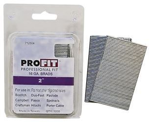 Pro-Fit 0712504 Collated Nail, 1/16 in x 2 in, Steel