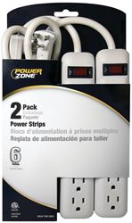 Powerzone OR7000X2 Power Outlet Strip, 125 V, 15 A, 6 Outlet, White