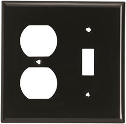 Arrow Hart 5138 Combination Standard Wall Plate, 2 Gang, 4-1/2 In L X 4.56 In W X 0.06 In T, Black