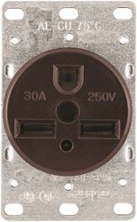 Cooper Industries 1234-BOX Heavy Duty Power Receptacle, 30 A, 250 VAC, 4 AWG, 3 Wires, 2 Poles