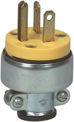 Cooper Industries 3809-SP Straight Armored Plug, 250 VAC, 20 A, 2 P, 3 W, Vinyl, Yellow, 0.25 - 0.63 in Wire