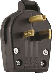 Cooper Industries S42-SP Commercial Grade Angled Power Plug, 250 V, 30/50 A, 2 P, 3 W, Thermoplastic, Black, 1.1 in Wire