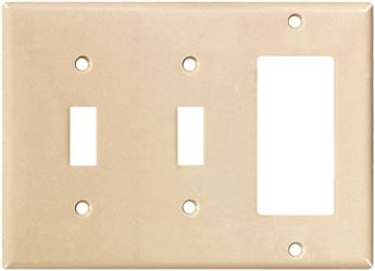 Arrow Hart 2173 Combination Decorative Standard Wall Plate, 3 Gang, 4-1/2 In L X 6.37 In W, Almond