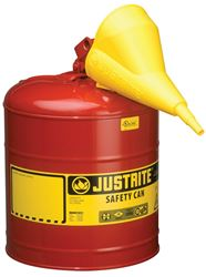 Justrite 7150110 Type I Safety Can with Funnel, 5 gal, 11-3/4 in Dia x 16-7/8 in H, Self-Venting