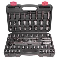 North American Tool 52341 Socket Set, 64 Pieces, 1/4 in, 3/8 in, 1/2 in, 6 Points