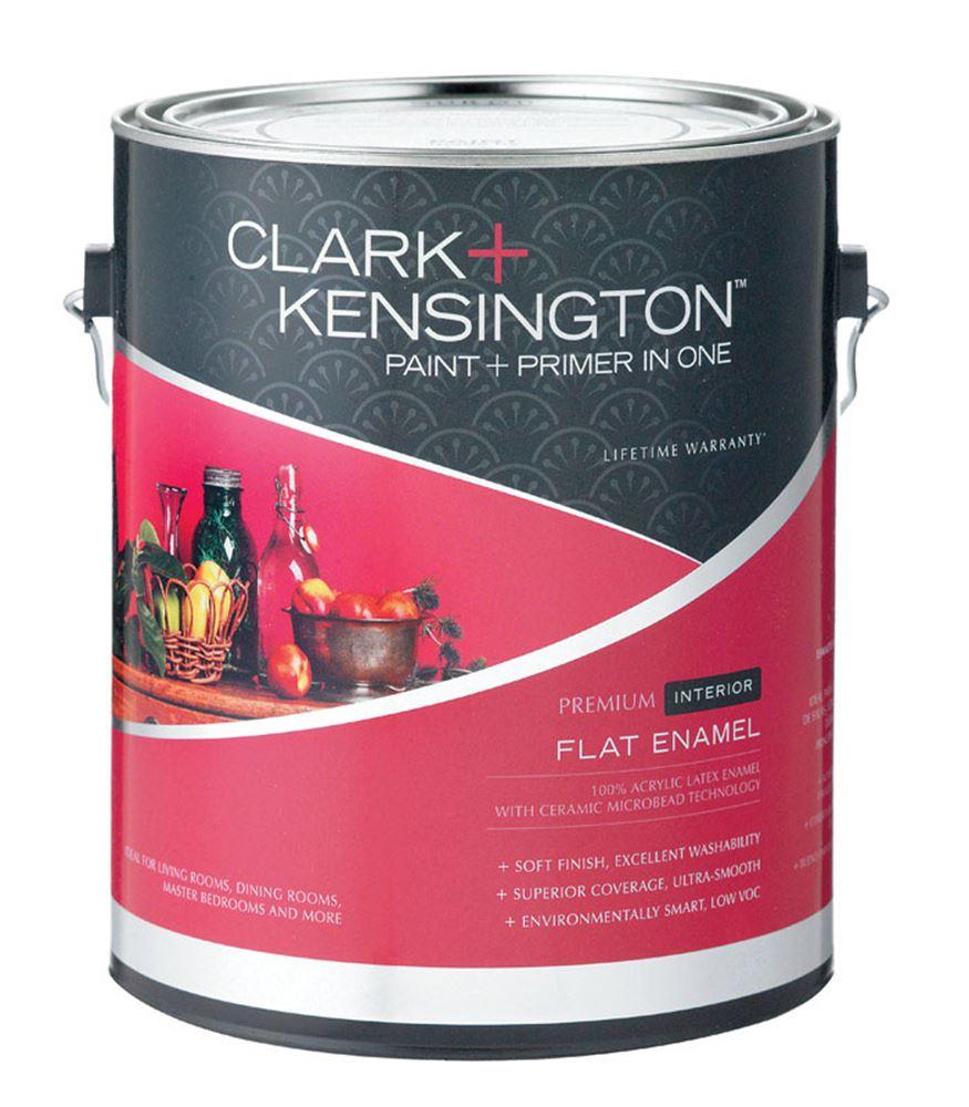 Clark kensington flat interior acrylic latex enamel paint 50g l black 1 gal