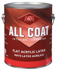 H&K Company  All Coat  Interior/Exterior  Acrylic Latex  Paint  Basic White  Flat  1 gal.
