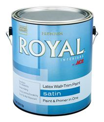 Ace  Royal  Interior  Acrylic Latex  Wall & Trim Paint  Ultra White  Satin  1 gal.