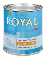 Ace  Royal  Interior  Latex  Wall and Trim Paint  Ultra White  Semi-Gloss  1 qt.