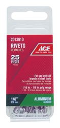 Ace  1/8 in. Dia. x 1/8 in.  Aluminium  Rivets  25 pk