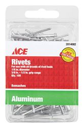 Ace  1/8 in. Dia. x 1/2 in.  Aluminium  Rivets  100 pk