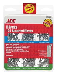 Ace  1/8 in. Dia. x 1/8 in.  Aluminum, Steel  Assorted Rivets  120 pk