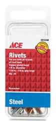 Ace  1/8 in. Dia. x 1/8 in.  Steel  Rivets  25 pk