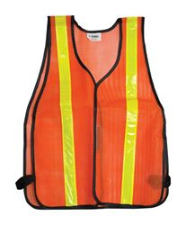 CH Hanson  One fits all  Orange  Polyester mesh  Safety Vest with Reflective Stripe