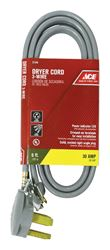 Ace  10/3 SRDT  250 volts Dryer Cord 3 Wire  6 ft. L Gray