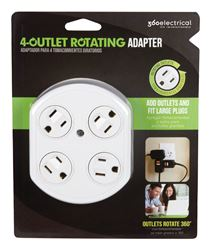 360 Electrical  Grounded  4-Outlet Adapter  White  15 amps 120 volts 1 pk