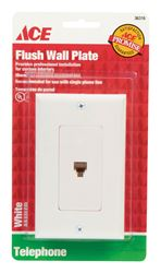 Ace  1 gang White  Coaxial  Telephone Line Wall Plate  1 pk