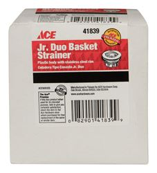 Ace  2-1/2 in. Dia. Junior Duo Strainer  Stainless Steel Rim
