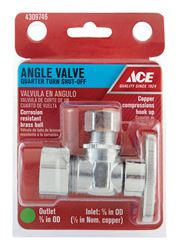 Ace  5/8 in. Dia. x 3/8 in. Dia. Brass  Angle  Shut-Off Valve
