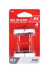 Ace  0.88 in. Dia. x 0.88 in. W Plastic / Nylon  Nail-On Cushioned Glide with Plastic Base  4