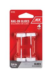 Ace  0.75 in. Dia. x 0.8 in. W Plastic / Nylon  Nail-On Glide with Plastic Base  4