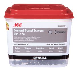 Ace  Cement Board Screws  Phillips  High/Low  No. 8  1-1/4 in. L Ceramic  5 lb.